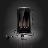 Téléphone portable lisse jouant la musique Photographie stock