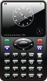 Téléphone portable lustré noir avec l'horloge Illustration de Vecteur