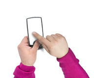 Téléphone portable moderne d'écran tactile avec l'écran blanc Photo libre de droits