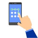 Téléphone portable ouvrant le modèle illustration de vecteur