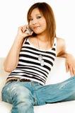 Téléphone portable parlant image stock
