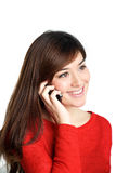 Téléphone portable parlant de fille asiatique Image stock