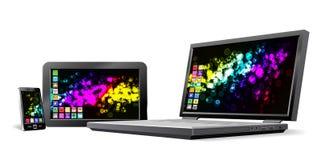 Téléphone portable, PC de tablette et ordinateur portatif. Photographie stock