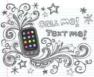 Téléphone portable PDA de nouveau au vecteur réglé de griffonnage d'école Photographie stock