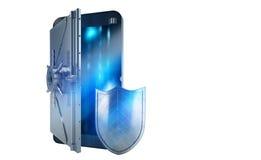 Téléphone portable sûr d'attaque de pirate informatique comme un coffre-fort rendu 3d images stock