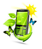 Téléphone portable vert d'eco Photographie stock libre de droits