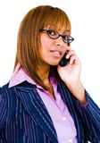 téléphone proche parlant vers le haut du femme Photographie stock libre de droits