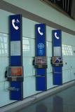 Téléphone public dans l'aéroport international capital de Pékin Photos libres de droits