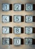 Téléphone public de vieux nombre de bouton Photos libres de droits