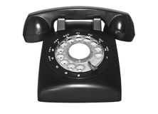 Téléphone rotatoire de bakélite noire de cru Photographie stock