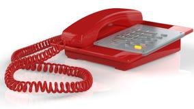 Téléphone rouge d'isolement sur le blanc Photo libre de droits