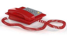 Téléphone rouge d'isolement sur le blanc Photos libres de droits
