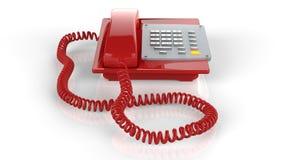 Téléphone rouge d'isolement sur le blanc Image libre de droits