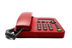 Téléphone rouge de bureau d'IP d'isolement Photographie stock