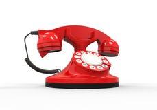 Vieux téléphone de rouge de cru Image stock