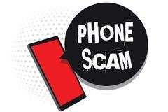 Téléphone Scam des textes d'écriture de Word Concept d'affaires pour recevoir des appels non désirés pour favoriser des produits  illustration de vecteur