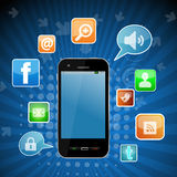 Téléphone social de réseau Photographie stock