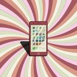 Téléphone sur le papier coloré Photographie stock