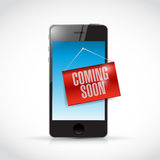 téléphone venant bientôt illustration de signe Images stock