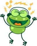 Téléphone vert chantant tout en écoutant la musique Photographie stock libre de droits