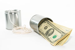 Téléphones de boîte en fer blanc, potentiel d'argent de vieilles idées image libre de droits