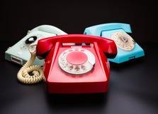 Téléphones de vintage sur le blanc Images libres de droits
