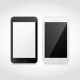 Téléphones intelligents noirs et blancs réalistes de vecteur Photographie stock libre de droits