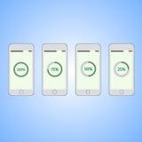 Téléphones portables avec la barre de chargement ronde sur l'écran Photographie stock libre de droits