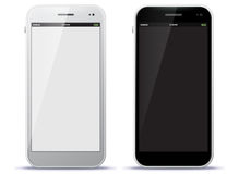 Téléphones portables noirs et blancs Photos libres de droits