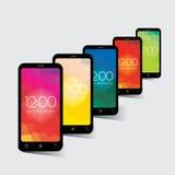 Téléphones portables - un ensemble de cinq Images libres de droits