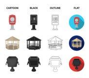 Téléphonez à automatique, belvédère, la poubelle, mur pour des enfants Icônes réglées de collection de parc dans la bande dessiné illustration stock