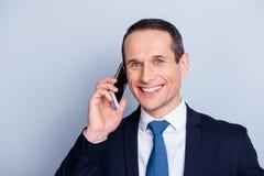 Téléphonez au copie-espace toothy Co de patron d'employeur de sourire de personne de personnes images libres de droits