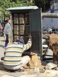 Téléphonez au monteur de lignes vérifiant la boîte de jonction, New Delhi, Inde Photos libres de droits