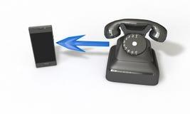 Téléphonez de niveau vers le haut du concept sur le blanc, 3d rendent Images libres de droits