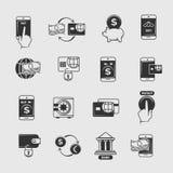Téléphonez le paiement, opérations bancaires mobiles d'Internet, icônes de vecteur de transfert d'argent électronique Photographie stock