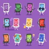 Téléphonez le smartphone ou le comprimé de caractère d'instrument de vecteur d'emoji avec l'ensemble émotif d'illustration d'expr illustration stock