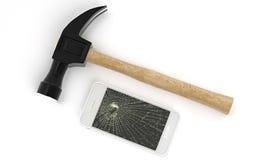 Téléphonez sur la table blanche cassée avec un marteau Image stock