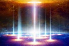 Téléportation à un monde ou à une dimension différent, e scientifique secret image stock