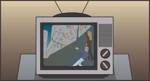 télévision 80s affichant le mur de Berlin Étant démoli Image libre de droits