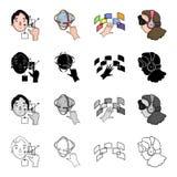 Télévision, cinéma, technologie et toute autre icône de Web dans le style de bande dessinée Virtuel, vrai, 3G, icônes dans la col Image stock