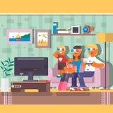 Télévision de observation de famille heureuse ensemble dans la maison Illustration plate de vecteur Images stock