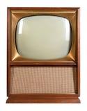 Télévision de vintage au-dessus du fond blanc photos stock
