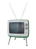Télévision de vintage - vieil isolat de TV sur le fond blanc Avec du Cl Photo stock