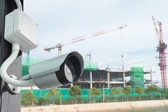 Télévision en circuit fermé dans le chantier de construction sûr Photographie stock libre de droits