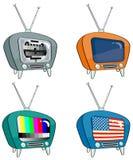 Télévision quatre à l'ancienne Photographie stock