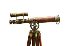 Télescope en laiton antique Images libres de droits