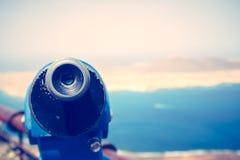 Télescope et vue panoramique à l'île de Graciosa de La du point de vue de Rio de del de Mirador Image stock