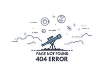 Télescope recherchant la bannière 404 Photos libres de droits