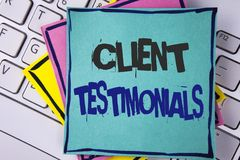 Témoignages de client d'écriture des textes d'écriture Les expériences personnelles de client de signification de concept passe e Images stock