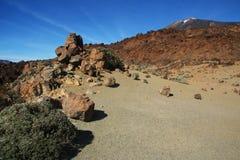 Ténérife, vue du nègre de Tabonal pour monter Teide photographie stock